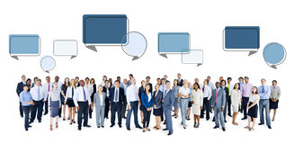 Multiethnic Group of Business People with Speech Bubbles Royalty Free Stock Photography