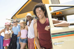 Multiethnic Group With Campervan Stock Image