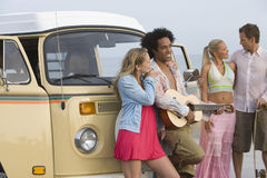Multiethnic Group With Campervan Stock Photos