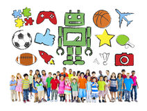 Multiethnic group of Children with Activities Stock Photography