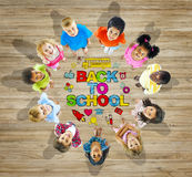 Multiethnic Group of Children with Back to School Concept Royalty Free Stock Photo