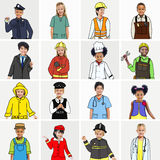 Multiethnic group of Children with Dream Jobs Concepts Stock Photography