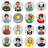 Multiethnic group of Children with Dream Jobs Concepts. Multiethnic group of Children with Various Jobs Concepts stock photos