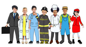 Multiethnic Group of Children with Future Career Uniforms.  Royalty Free Stock Photos