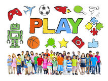 Multiethnic Group of Children and Play Concept Stock Photo