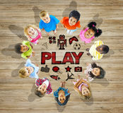 Multiethnic Group of Children Play Concept Stock Photo