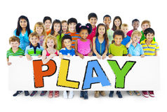 Multiethnic Group of Children with Play Concept Stock Image