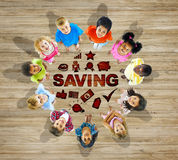 Multiethnic Group of Children with Saving Concept Stock Photos