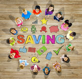 Multiethnic Group of Children with Saving Concepts Stock Images
