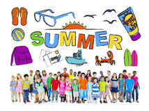 Multiethnic Group of Children with Summer Concept Royalty Free Stock Image