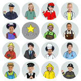 Multiethnic Group of Children with Various Jobs Concept Stock Image