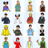 Multiethnic group of Children with Various Jobs Concepts Stock Photos