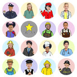 Multiethnic group of Children with Various Jobs Concepts Royalty Free Stock Photo