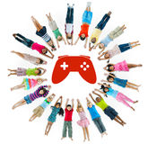 Multiethnic Group of Children with Video Game Stock Photography