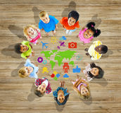Multiethnic Group of Children with World Map Stock Photography