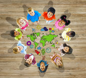 Multiethnic Group of Children with World Map Royalty Free Stock Photography