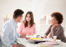 Multiethnic Group of College Students Studying Together Stock Photography