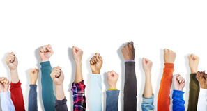 Multiethnic Group of Fists on White Background Royalty Free Stock Photos