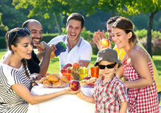 Multiethnic group of friends. Enjpying a meal together outdoors in the garden with a small boy in sunglasses in the foreground Royalty Free Stock Photos