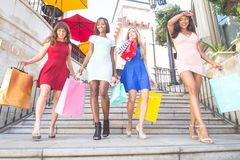 Beautiful women shopping Stock Photography