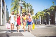 Beautiful women shopping Stock Photos