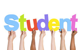 Multiethnic Group of Hands Holding Student Stock Images