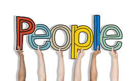 Multiethnic Group of Hands Holding Word People Stock Images