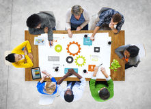 Free Multiethnic Group Of People Meeting With Gear Symbol Stock Image - 43921441