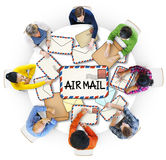 Multiethnic Group of People with Air Mail Concepts Royalty Free Stock Photos