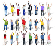Multiethnic Group of People Arms Raised Stock Images