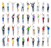 Multiethnic Group of People Arms Raised and Celebration Stock Photography