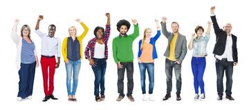 Multiethnic Group of People Arms Raised and Celebration Royalty Free Stock Photo