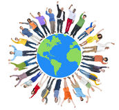 Multiethnic Group of People Arms Raised and Earth Stock Photos