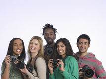 Multiethnic Group Of People With Cameras Stock Photography