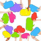 Multiethnic Group of People and Colorful Speech Bubbles Stock Photography