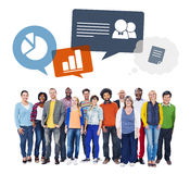 Multiethnic Group of People and Data Concepts Stock Photo