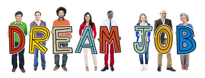 Multiethnic Group of People Holding Dream Job Stock Photo