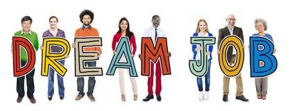 Multiethnic Group of People Holding Dream Job Stock Photo