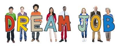 Multiethnic Group of People Holding Dream Job Stock Image