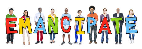 Multiethnic Group of People Holding Emancipate.  royalty free stock photos