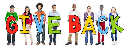 Multiethnic Group of People Holding Give Back Royalty Free Stock Image