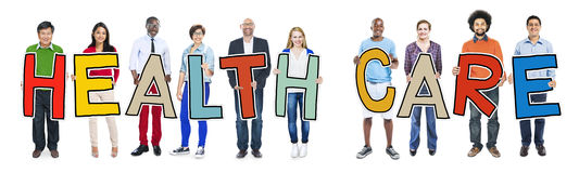 Multiethnic Group of People Holding Health Care Stock Images