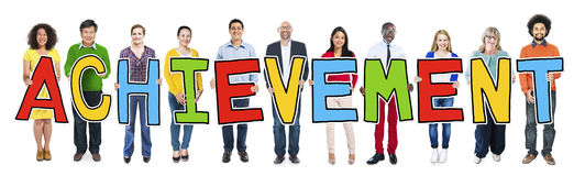 Multiethnic Group of People Holding Letter Achievement Royalty Free Stock Photography
