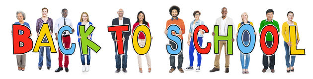 Multiethnic Group of People Holding Letter Back to School Stock Images