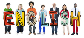 Multiethnic Group of People Holding Letter English Stock Photo