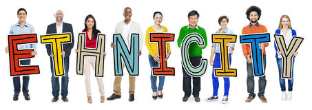 Multiethnic Group of People Holding Letter Ethnicity.  Stock Photos