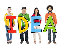 Multiethnic Group of People Holding Letter Idea Royalty Free Stock Photography