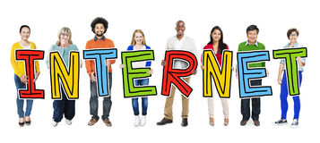 Multiethnic Group of People Holding Letter with Internet Concept Royalty Free Stock Photography