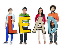 Multiethnic Group of People Holding Letter Lead Royalty Free Stock Photography