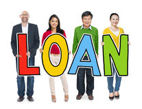 Multiethnic Group of People Holding Letter Loan Royalty Free Stock Image